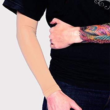 Tat2X Ink Armor Premium Full Arm Tattoo Cover Up Sleeve - No Slip Gripper - U.S. Made - Light - XL2X (one Sleeve)