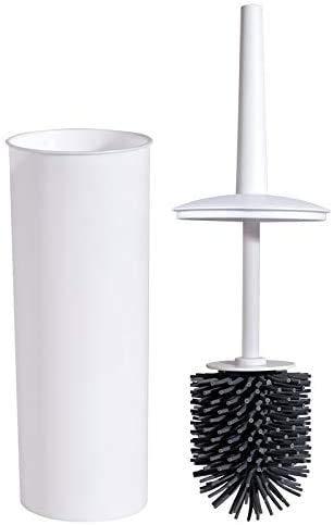 Shamdon Home Collection Freestanding Toilet Bowl Brush and Holder Set with Silicone Bristles Compact for Bathroom Storage and Organization,Sturdy, Deep Cleaning, Covered Brush-White