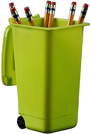 Plastic Toy Garbage Cans Playset – Wastebasket Toys Used for Pencil Holder, Desktop Organizer, Fun Playing, Novelty and Party Favors Red 4 x 3 X 6 (6 Pack) (Green)