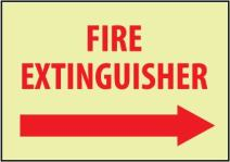 """NMC GL131PB Restricted Area Sign, Legend """"FIRE EXTINGUISHER"""" with Right Arrow Graphic, 14"""" Length x 10"""" Height, Glow Polyester, Red on White"""