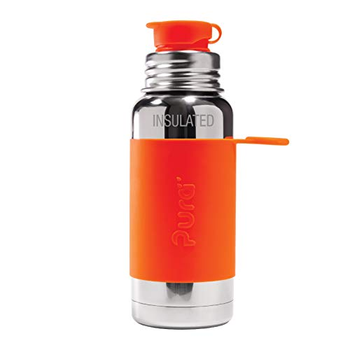 Pura Sport 16 oz / 473 ml Stainless Steel Insulated Water Bottle with Silicone Sport Flip Cap & Sleeve (Plastic Free, Nontoxic Certified, BPA Free)
