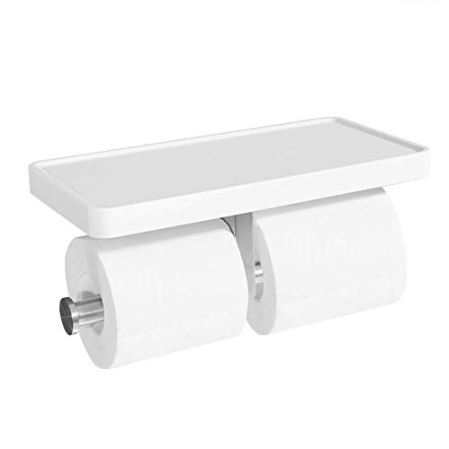 CRO DECOR Double Roll Toilet Paper Holder with Shelf, Bathroom Tissue Paper Roll Holder with Mobile Phone Storage 2 Rolls, White