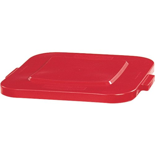 Rubbermaid Commercial Products BRUTE Square Bin Storage Container Lid, 28-Gallon, Red (FG352700RED)