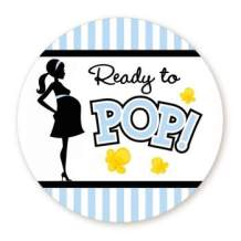 """Classic Ready to Pop Stickers   Ready To Pop Baby Shower Stickers for Popcorn   Ready to Pop Stickers for a Girl or boy (Blue, 1.67"""")"""