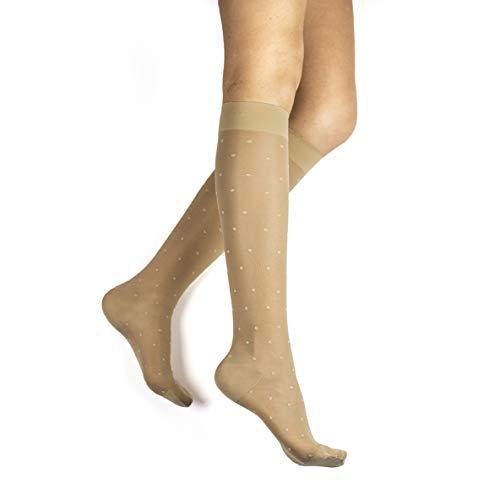 Rejuva 15-20 mmHg Graduated Compression Stockings, Sheer Dot Pattern, Knee High