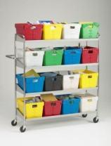 Charnstrom Extra Long Four Shelf Mobile 16 Bin Cart (B162)