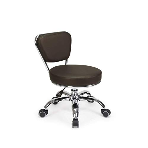 """Dayton Garage Rolling Seat (Coffee) Pneumatic, Short Stool with Adjustable Height 13""""-15"""", Perfect for Garage Mechanic, Home Gardening, Factory Technician Task"""