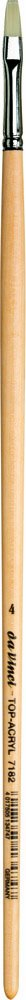 da Vinci Oil & Acrylic Series 7182 Top Acryl Paint Brush, Bright White Synthetic with Long Natural Polished Handle, Size 4 (7182-04)