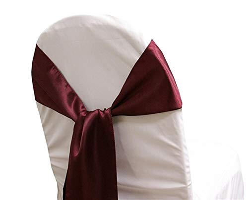 mds Pack of 50 Satin Chair Sashes Bow sash for Wedding and Events Supplies Party Decoration Chair Cover sash - Burgundy