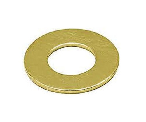 """Brass Flat Washer, Plain Finish, No. 8 Screw Size, 0.17"""" ID, 7/16"""" OD, 0.035"""" Thick (Pack of 100)"""