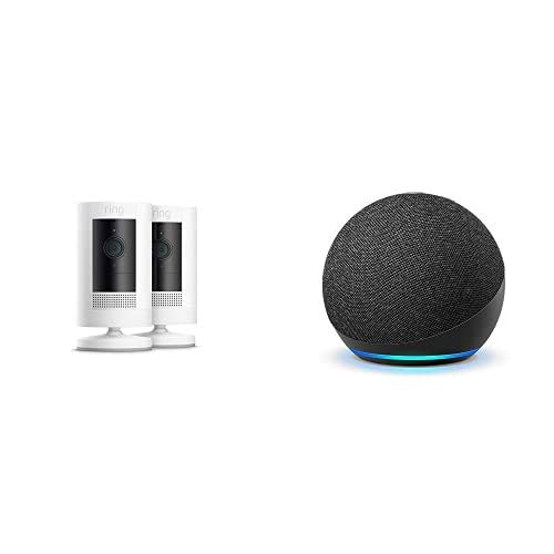 Ring Stick Up Cam Battery HD security camera (White) 2-pack, with Echo Dot (4th Gen - Charcoal)