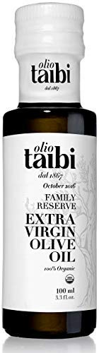 "Olio Taibi Award-Winning Organic Extra Virgin Olive Oil, Monocultivar ""Biancolilla"", Single Sourced Sicily, Italy, Fruity, High Polyphenols, Unrefined, 3.38 Fl Oz"
