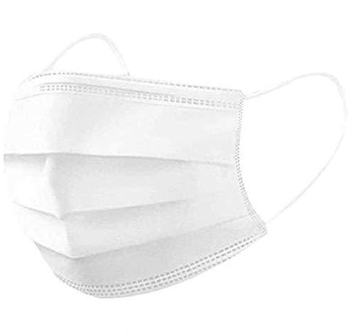MSAAEX Face Masks,Pack of 100 Masks Standard-Sealed Bag Protected Health-3 PLY Disposable Masks White