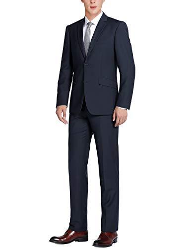 CHAMA Men's Slim Fit Suits 2 Piece, Two Button Business Suit Jacket Blazer & Pants Set - Many Colors Dark Navy