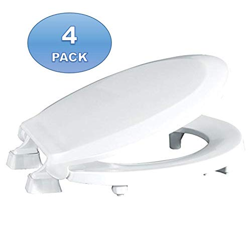 """4 Pack - Centoco HL440STS-001 Round 2"""" Lift, Raised Plastic Toilet Seat, Closed Front with Cover, ADA Compliant Handicap Medical Assistance Seat, White"""