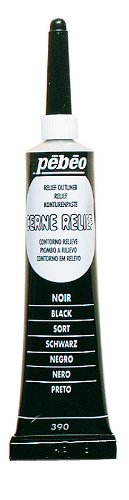 Pebeo Vitrail, Cerne Relief Dimensional Paint, 20 ml Tube with Nozzle - Black