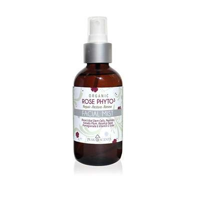 Organic Rose Water Spray, Peak Scents Phyto3 Organic Rosewater Soothing and Hydrating Face Mist 4 Ounces