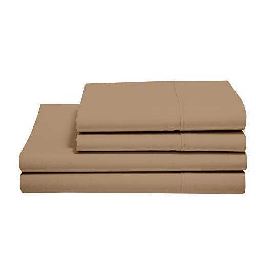 100% Cotton Sheets - Real 800 Thread Count 4 Piece Bed Sheet Set - Soft & Smooth Hotel Luxury 4pc Sheet Set Solid 15 inches Deep Pocket (Twin, Taupe)
