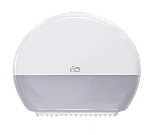 """Tork 555020A Elevation Mini Jumbo Bath Tissue Roll Dispenser, 10.8"""" Height x 13.6"""" Width x 5.2"""" Depth, White (Case of 1 Dispenser) for use with Tork 11020602, 12024402, 120246 and 12013903"""