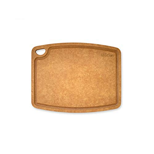 """Liflicon Non-Slip Cutting Board Wood Fiber Good for Meal Prep Kitchen,Bar and Serving Tray 11.81""""9.25""""0.24"""" Eco-Friendly,Dishwasher Safe Natural color with Juice Groove"""
