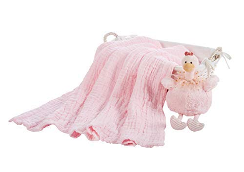 Baby Brielle 2 Piece Gift Set 6 Layer Extra Thick Muslin Multifunctional Bath and Sleep Quilt and Plush Toy Gift Set with Greeting Card for Newborns, Infants and Toddlers Girls in Pink