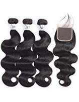 Igrina Brazilian Virgin Hair Body Wave 3 Bundles With Closure Remy Human Hair Bundles With 4x4 Lace Closure Good Cheap Weave Wet And Wavy Human Hair Extensions With Baby Hair (18 20 22 +16 Free Part)