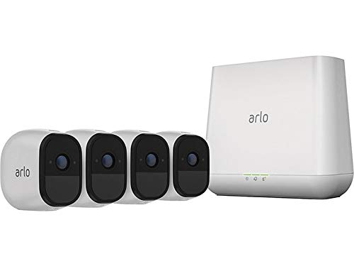 (Renewed) Arlo Pro 2 VMS4430P-100NAR Wireless Home Security Camera System with Siren, Rechargeable, Night Vision, Indoor/Outdoor, 1080p, 2-Way Audio, Wall Mount, 4 Camera Kit, White