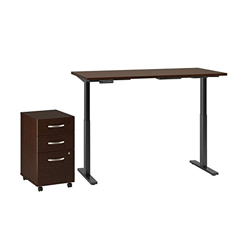 Move 60 Series 72W x 30D Height Adjustable Standing Desk with Storage in Mocha Cherry Satin with Black Base