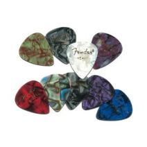 Fender 351 Shape Premium Picks (12 Pack) for electric guitar, acoustic guitar, mandolin, and bass, 351 - Thin, Multicolor (Abalone)