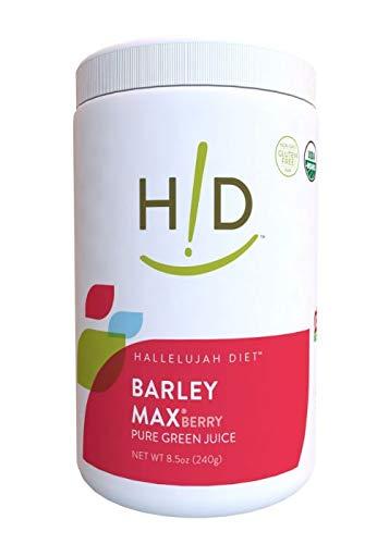 Hallelujah Diet Organic BarleyMax - Barley and Alfalfa Green Juice Powder, Berry Flavor, (8.5 Ounces, 120 Servings)