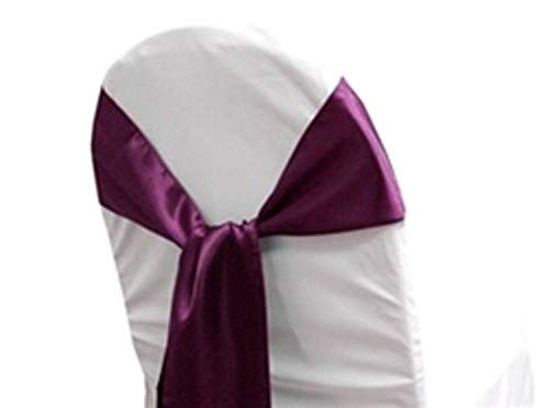 mds Pack of 10 Satin Chair Sashes Bow sash for Wedding and Events Supplies Party Decoration Chair Cover sash -Egg Plant