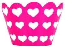 Just Artifacts Decorative Cupcake Paper Wrapper Muffin Holder - (40pc) Color: Fuchsia w/White Hearts - Decorations for Birthday Parties, Baby Showers, Weddings and Life Celebrations!