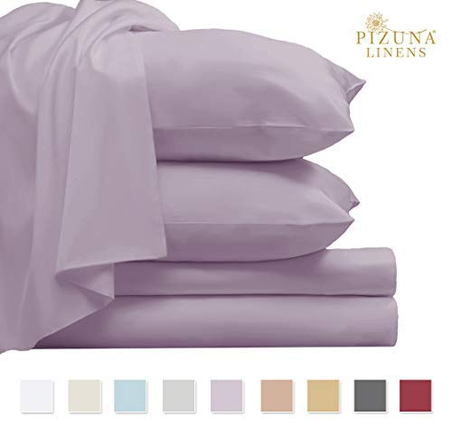 Pizuna 800 Thread Count Cotton Sheet Set, 100% Long Staple Cotton Lavender Bed Sheets Queen Sateen Sets, Luxury Deep Pocket Sheets fit Upto 15 inch (Lavender Queen 100% Cotton Sheets)