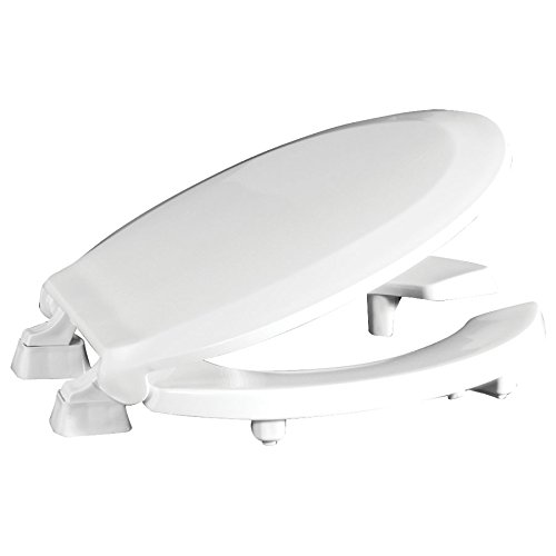 """Centoco HL460STS-001 Round 2"""" Lift, Raised Plastic Toilet Seat, Open Front with Cover, ADA Compliant Handicap Medical Assistance Seat, White"""