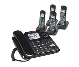 Clarity E814 Moderate Hearing Loss Cordless Phone with E814HS Expandable Handset Bundles (Clarity E814 with 4 E814HS)