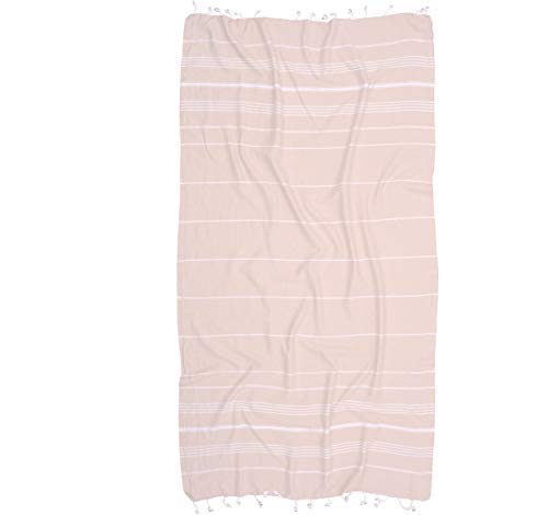 Turkish Towels by Riviera Towel Co. - Help Heal Our Oceans with A Thin Stylish Striped Beach Bath Pool Spa Towel - 100% Cotton - Beige