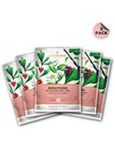 Pack of 5 Biocellulose Brightening Face Mask with Bearberry, Green Tea and Mulbery by LuxaDerme