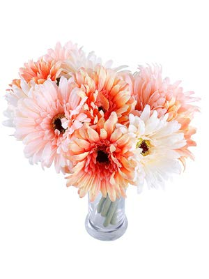 6 pcs Artificial Daisy Bridal Flowers Bouquet Real Touch Silk Chrysanthemum Flowers Plastic Fake Sunflower Simulation Gerber Dimorphotheca for Wedding holiday Home Party Decor bridesmaid (Pink-White)