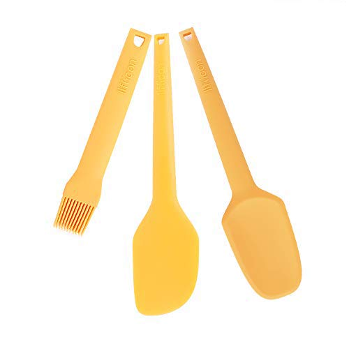 Liflicon baking tools set Heat Resistant Basting Pastry Brushes for BBQ Grilling Baking Spatula knife/kitchen Spatula Spoon Dishwasher Safe-Yellow