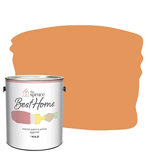 The Spruce Best Home by KILZ 15118001 Interior Eggshell Paint & Primer in One, 1 Gallon, SPR-02 Electric Kumquat