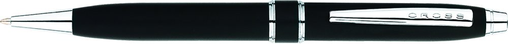 Cross Stratford Black Lacquer Ballpoint Pen with Chrome Appointments, AT0172-3, Satin Black