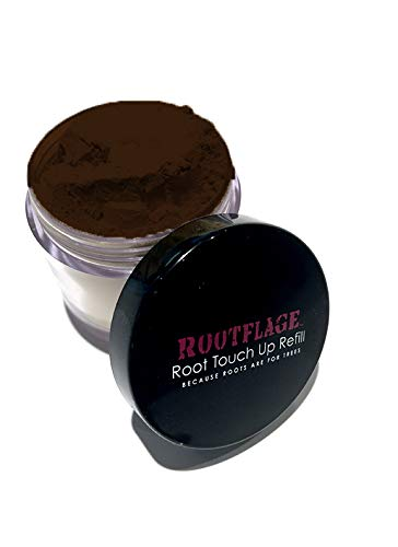 Root Touch Up Hair Powder - Temporary Hair Color, Root Concealer, Thinning Hair Powder and Concealer Refill Jar with Detail Brush Included, .31 oz (Dark Brown) …
