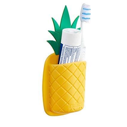 Pineapple Shaped Silicone Toothbrush Holder (Antibacterial) - Kitchen Utensil Holder, Pen Holder. Instant Stick!