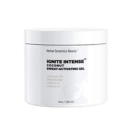 HD Beauty Ignite Intense Coconut Sweat-Activating Gel with Shea Butter, Jojoba Oil, Vitamin A, Vitamin E, and Vitamin B5 for Enhancing Perspiration, 4.0 oz