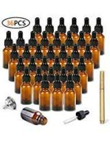 Amber Glass Bottles with Eye Droppers (0.5 oz, 36 pk) for Essential Oils, Colognes & Perfumes,with Metal Funnel and Pen