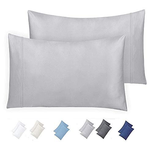 """400 Thread Count 100% Cotton Pillowcase Set, Soft & Breathable Sateen Weave, Hotel Collection Wrinkle Free Hypoallergenic & Luxury Bedding,Standard (20""""X30"""") Pillowcase - Set of 2 - Light Grey Solid"""