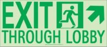 NMC 50F-4SN-UR EXIT THROUGH LOBBY Sign – 16 in. x 7 in. 24 Hour Glow Flex Safety Sign with Graphic, Green Text on Glow Yellow Base