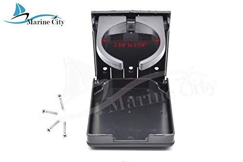 "Marine City Black Plastic 2-3/8""to 3-7/8"" Adjustable Arms Folding Cup Holder"