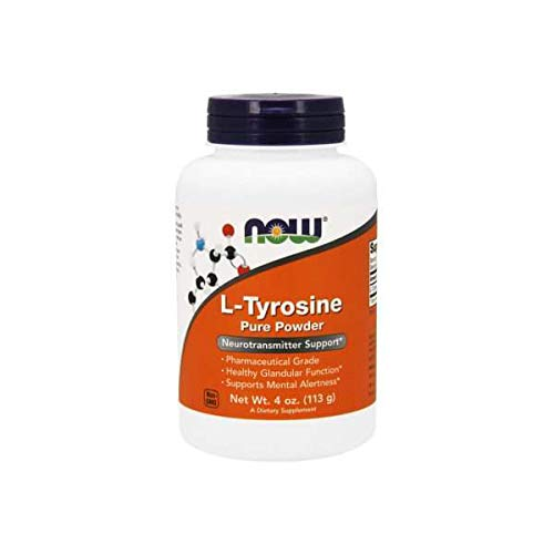 NOW Supplements, L-Tyrosine Powder, Free-Form, Neurotransmitter Support*, Amino Acid, 4-Ounce