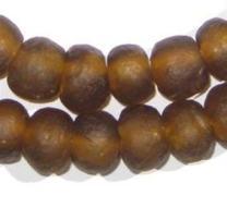 African Recycled Glass Beads - Full Strand Eco-Friendly Fair Trade Sea Glass Beads from Ghana Handmade Ethnic Round Spherical Tribal Boho Krobo Spacer Beads - The Bead Chest (14mm, Amber)